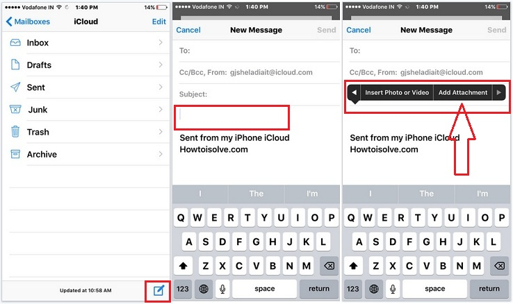 Add attachment in Mail app from iPhone, iPad, iPod Touch