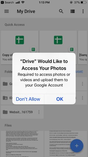 1 Allow Access Photo on Google Drive app on iPhone