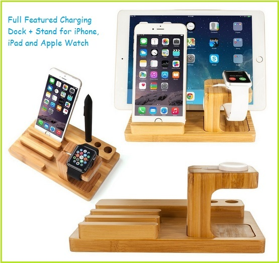 bamboo Apple Watch and iPhone 6S stand