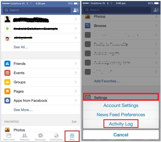 Delete old activity log from FaceBook iOS app - iPhone, iPad, iPod Touch