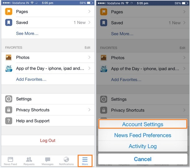 Block facebook friends on iPhone, iPad and iPod Touch