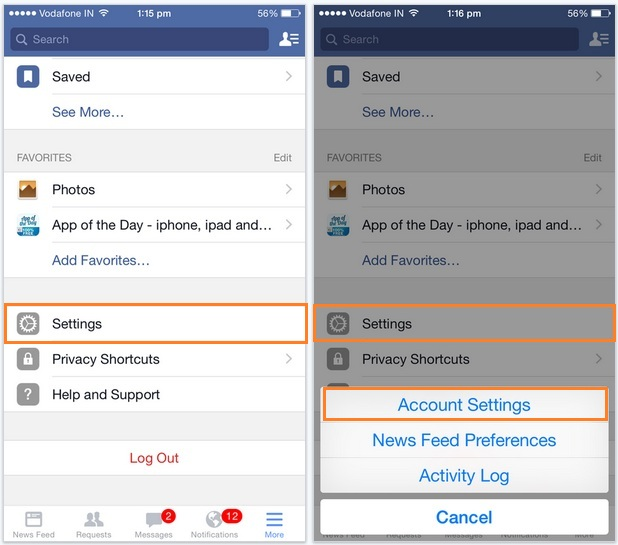 view all Active login session in iPhone facebook: logout remotely