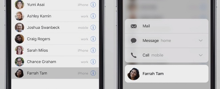 contacts app works with force touch or 3D touch