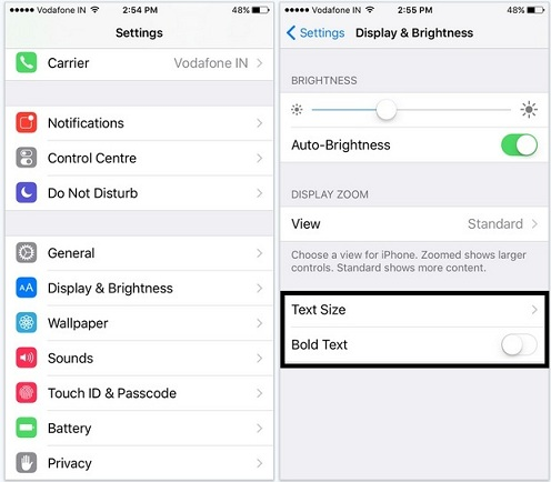 Change text size and style from iOS 9