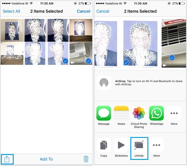 Unhide option for hidden photo in iOS 9