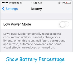 Show percentage for battery in iOS device