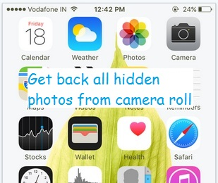 get back hidden photo and save in camera app