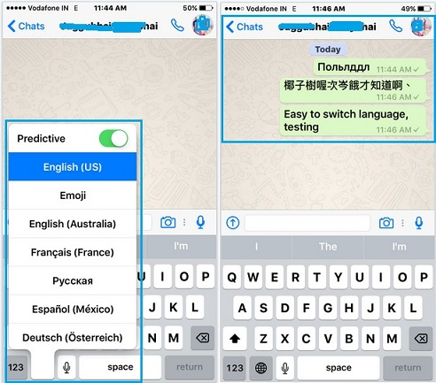 Switch keyboard language from iOS 9