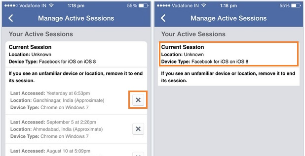 Remove or logout active facebook login session