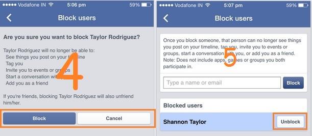 Facenook friends unblock list