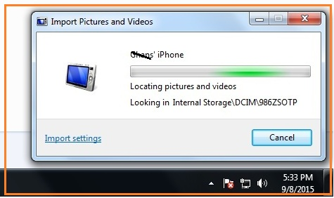 Start import to PC from iOS device