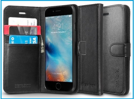 Wallet iPhone 6S case with Stand in leather