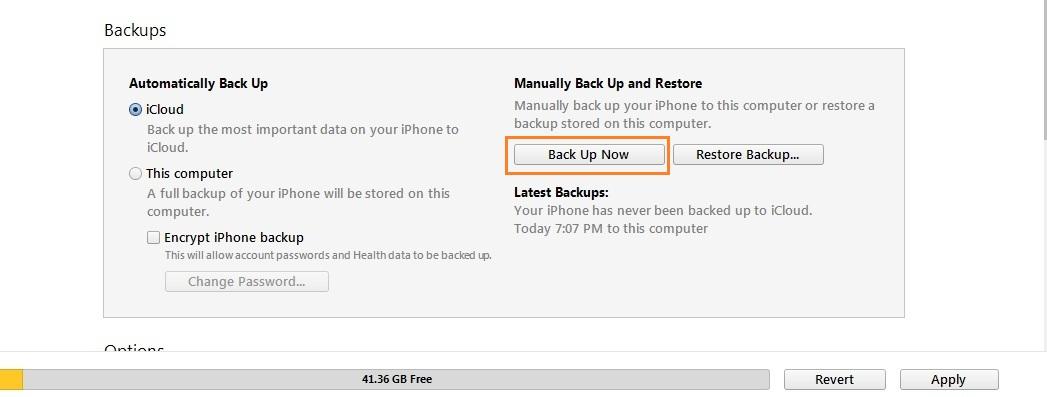 Start manually backup from iOS device