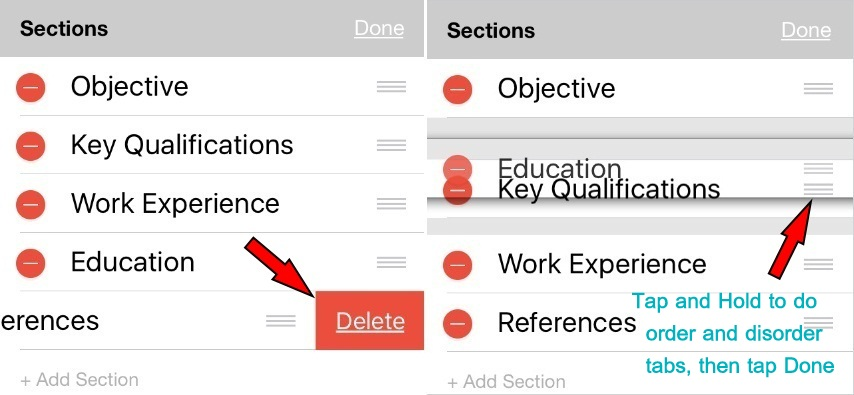 Delete tab in Resume Star App on iPhone iPad iOS 10 or later
