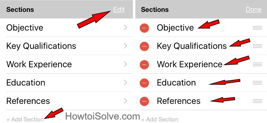 Resume Star App Edit button next to Sections