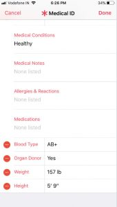 Edit blood type weight height organ donor in Apple Medical ID in Health App on iPhone