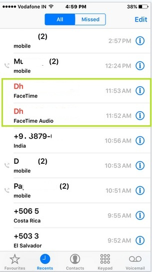 iPhone showing fake call log in iPhone, iPad: iOS