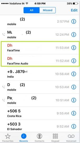 iPhone showing fake call log in iPhone, iPad: iOS