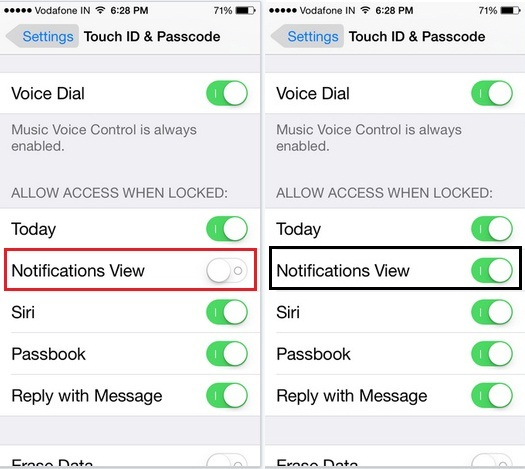 How to fix Locked screen iPhone 6 plus doesn't showing notification bar