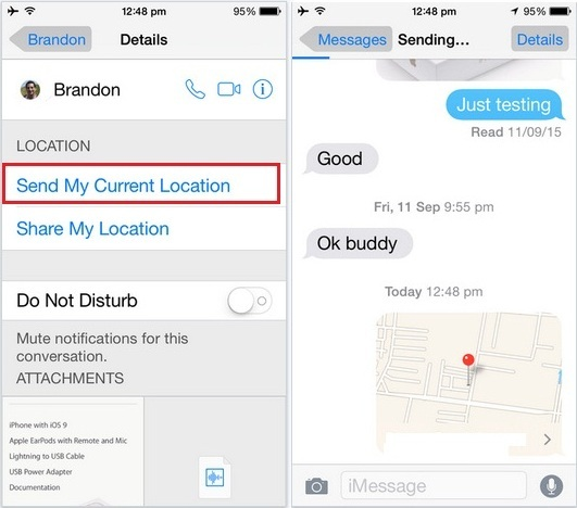 How to send location in iMessage in iOS 9, iOS 8 on iPhone 6S, 6S plus