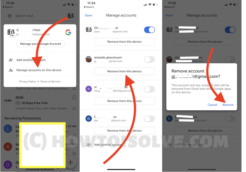 Manage Gmail Account on iPhone Gmail App