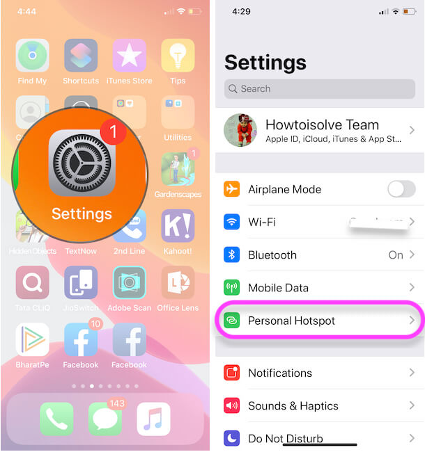 Personal Hotspot Settings on iphone