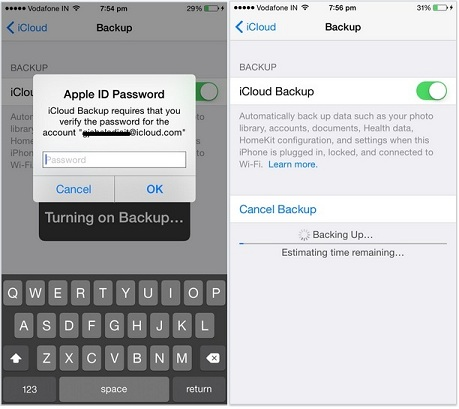Verify before start backup in iCloud