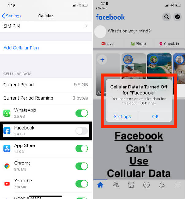 Turn off Mobile Data for Individual App from Settings- Disabled for FaceBook