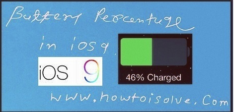 turn on or turn off battery percentage in iOS 9 devices likely iPhone 6S, iPhone 6S Plus, iPhone 6, iPhone 6S Plus, iPhone 5S, iPhone 5C, iPhone 5, iPhone 4S, iPad Air, iPad Mini