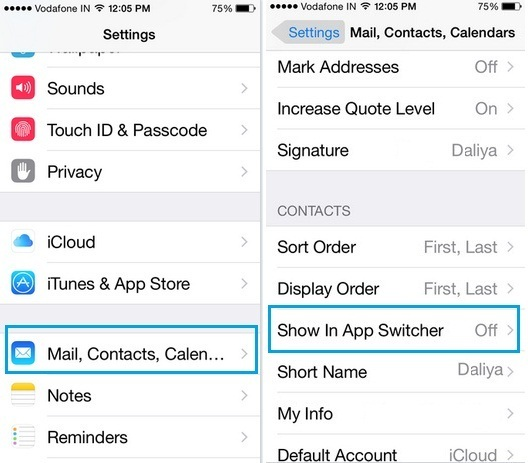 enable recent and favorite contacts on iPhone App switcher