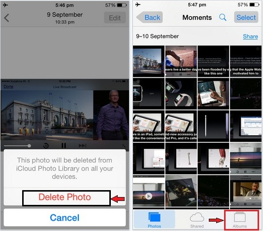 how to delete Photos permanently in iOS 9: iPhone 6S, 6S plus.