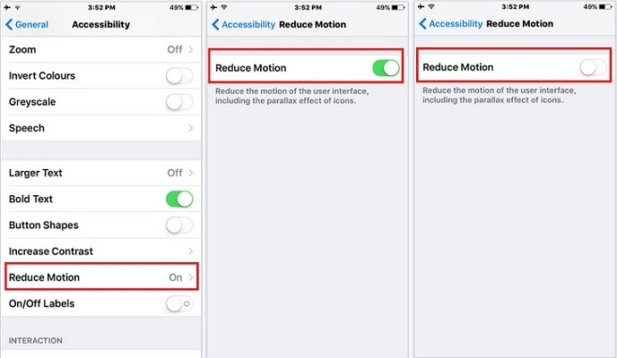 How to turn off reduce motion effect on iPhone 6S, 6S Plus