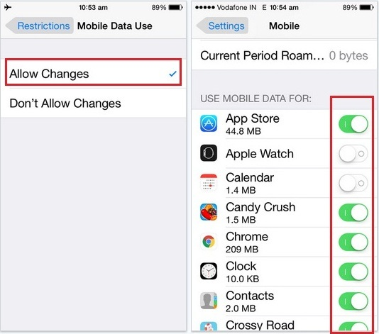 Do not enable or disable button turn cellular data on for individual apps on iPhone