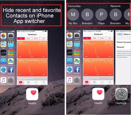 how to hide recent and favorite contacts on iPhone App switcher on iOS 9