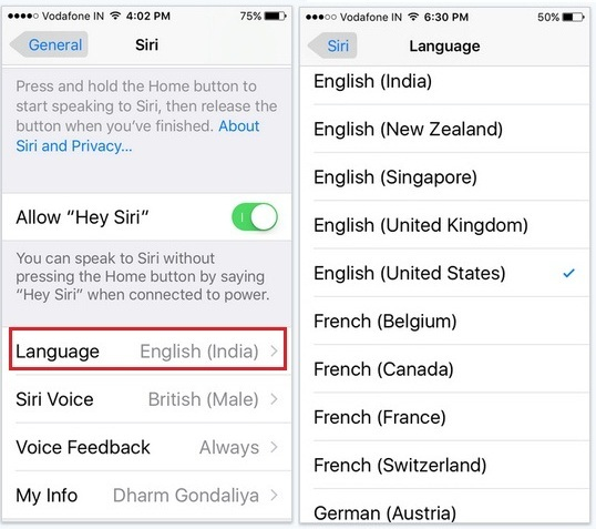change Siri language from English to Spanish, Danish, Chinese, French and other all Siri Settings in iOS 9