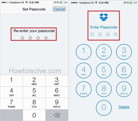 how to Change Dropbox Passcode on iPhone, iPad, iOS 9