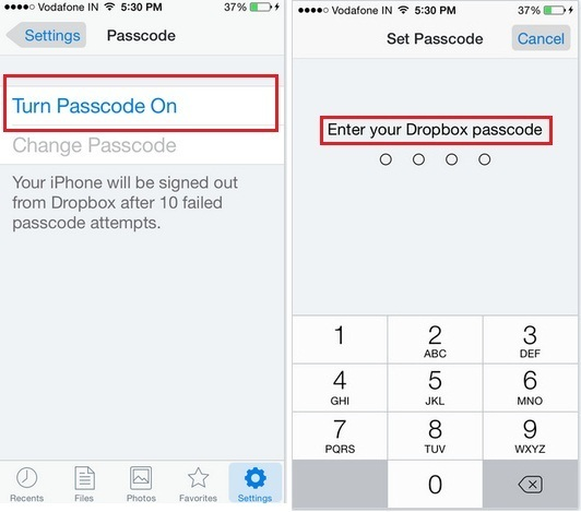How to Set 4-digit Passcode dropbox in iOS 9