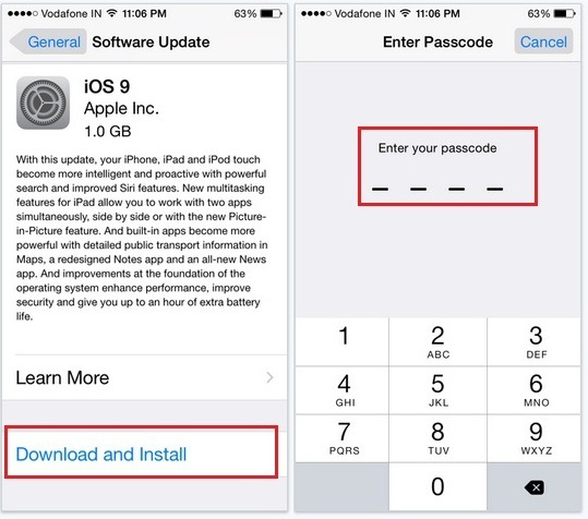 Nine Steps to Download iOS 9 and install on iPhone 6, 6 plus, 5S, 5C, 5, 4S and iOS 9 update screenshot on iPhone