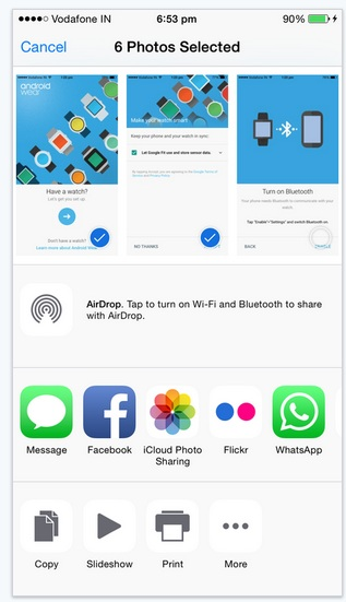 Share photos on online cloud service or Mail from iPhone