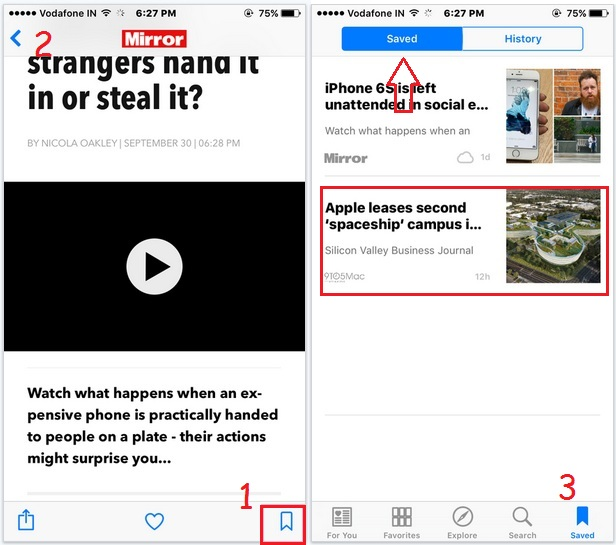 Save or Bookmark news story in Apple news app in iPhone/ iPad