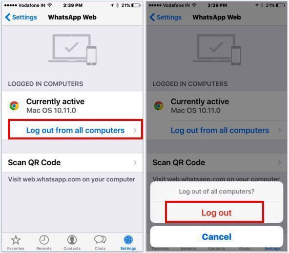 Logout WhatsApp web account through iPhone, iPad