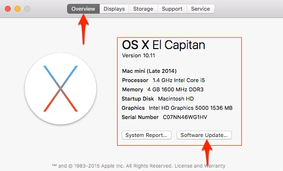 System requirements for OS X EI Capitan on Mac, iMac, MacBook