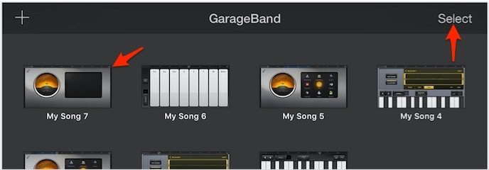 Choose saved song from garageband