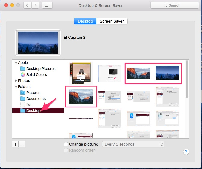 Choose picture and set as a background on Mac