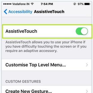 Enable Assistive touch on iPhone home screen