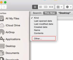 File Size filter option on Mac Folder