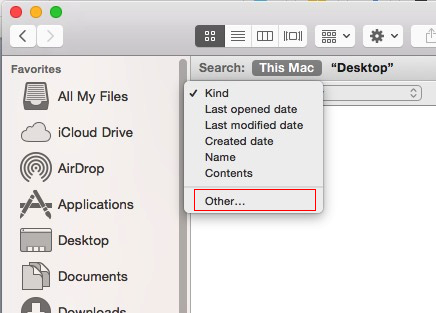 File Size filter option on Mac Folder