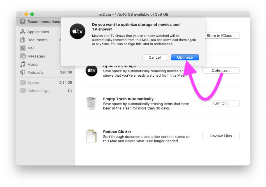 Optimize Storage on Macbook Mac