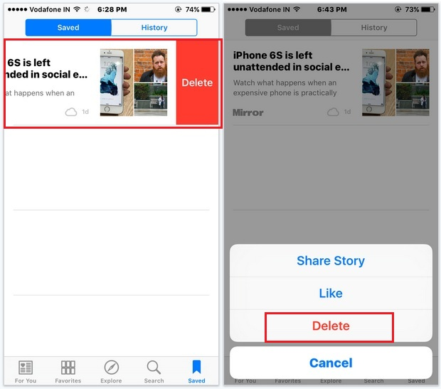 Delete saved news in news app in iOS 9