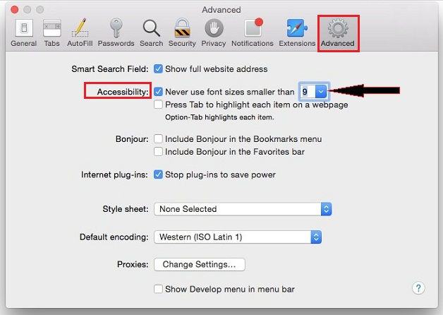 How to Change font Size in Safari Mac OS X Ei Capitan: 10.11